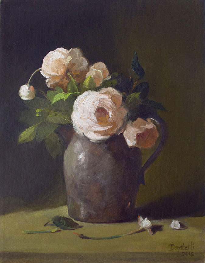Roses in Silver Pitcher