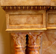 Faux limestone with Trompe L'oeil marble
