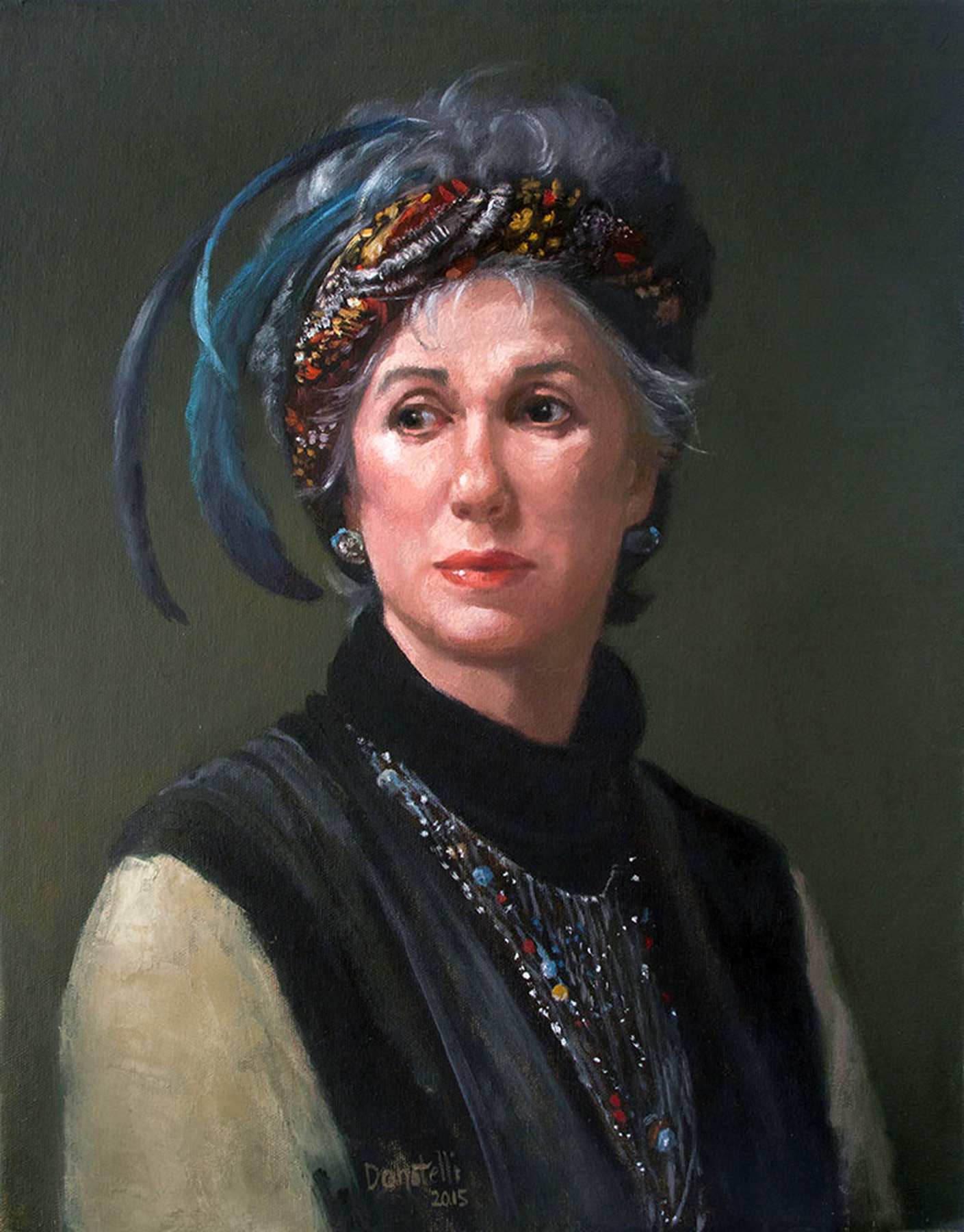 In Her Vintage Style, Oil on canvas, 18