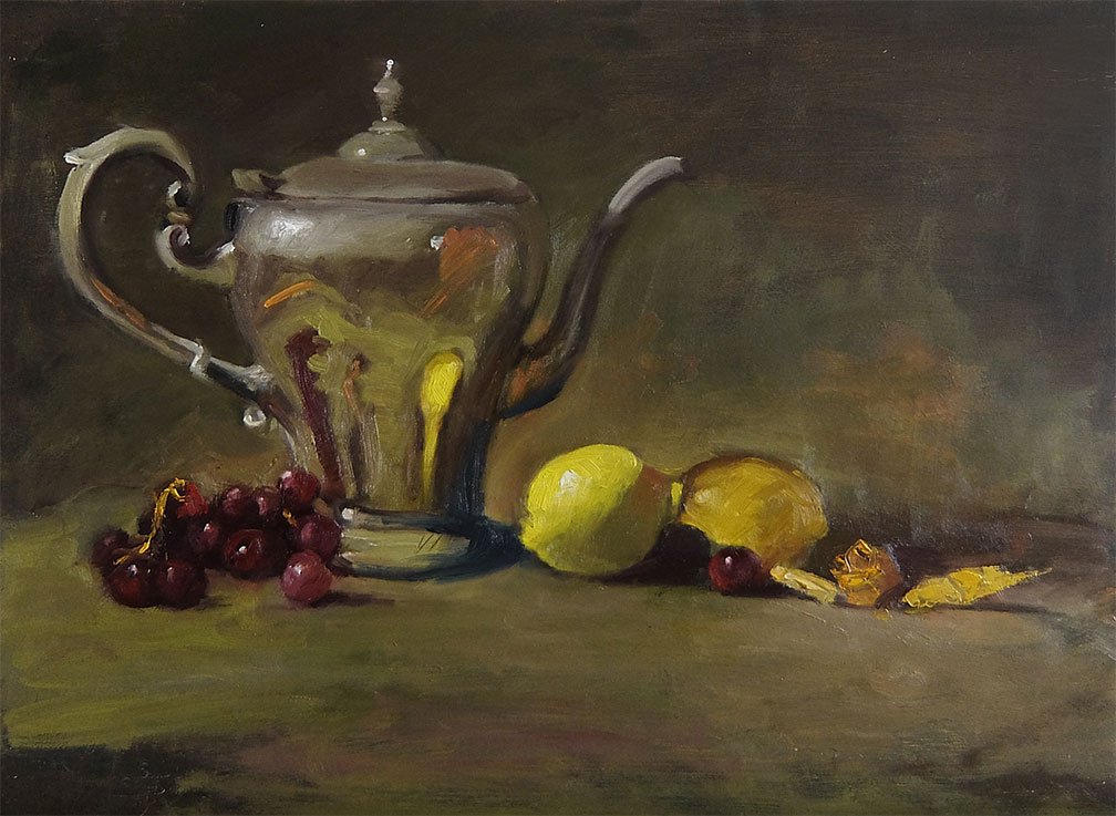 Silver Teapot with Lemons